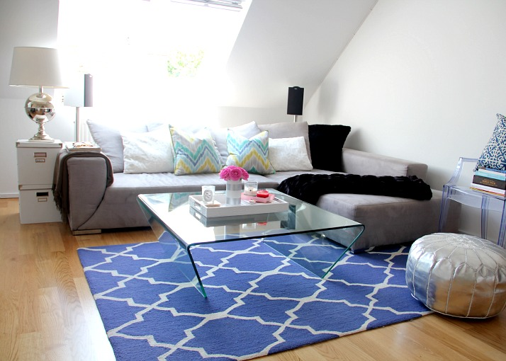 blue patterned rug - living room