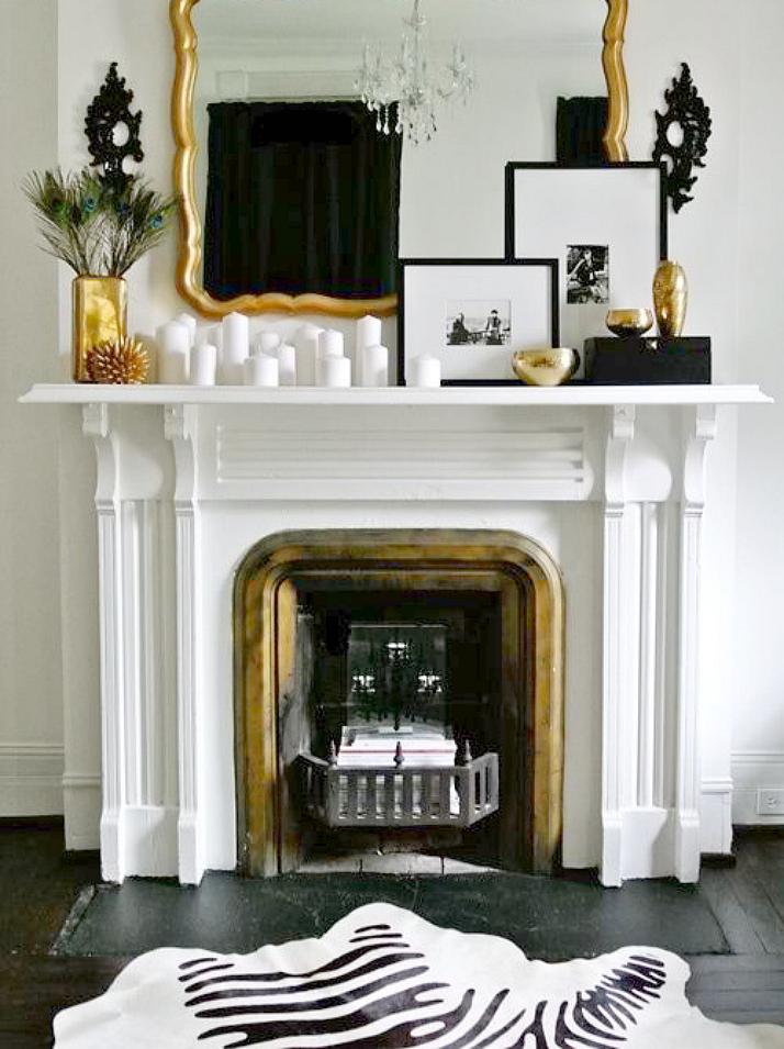 Black, white & gold living room