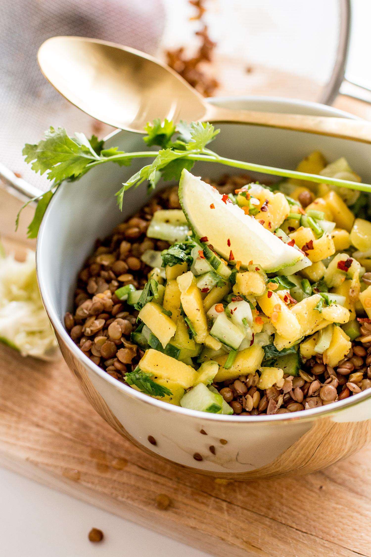 Lentil Salad with Cucumber-Mango-Salsa | Love Daily Dose
