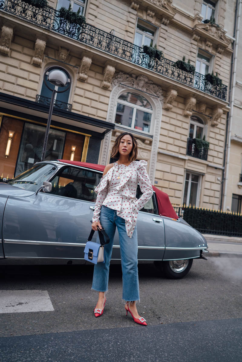Self-Portrait Polka Dot Blouse, Aimee Song | Love Daily Dose