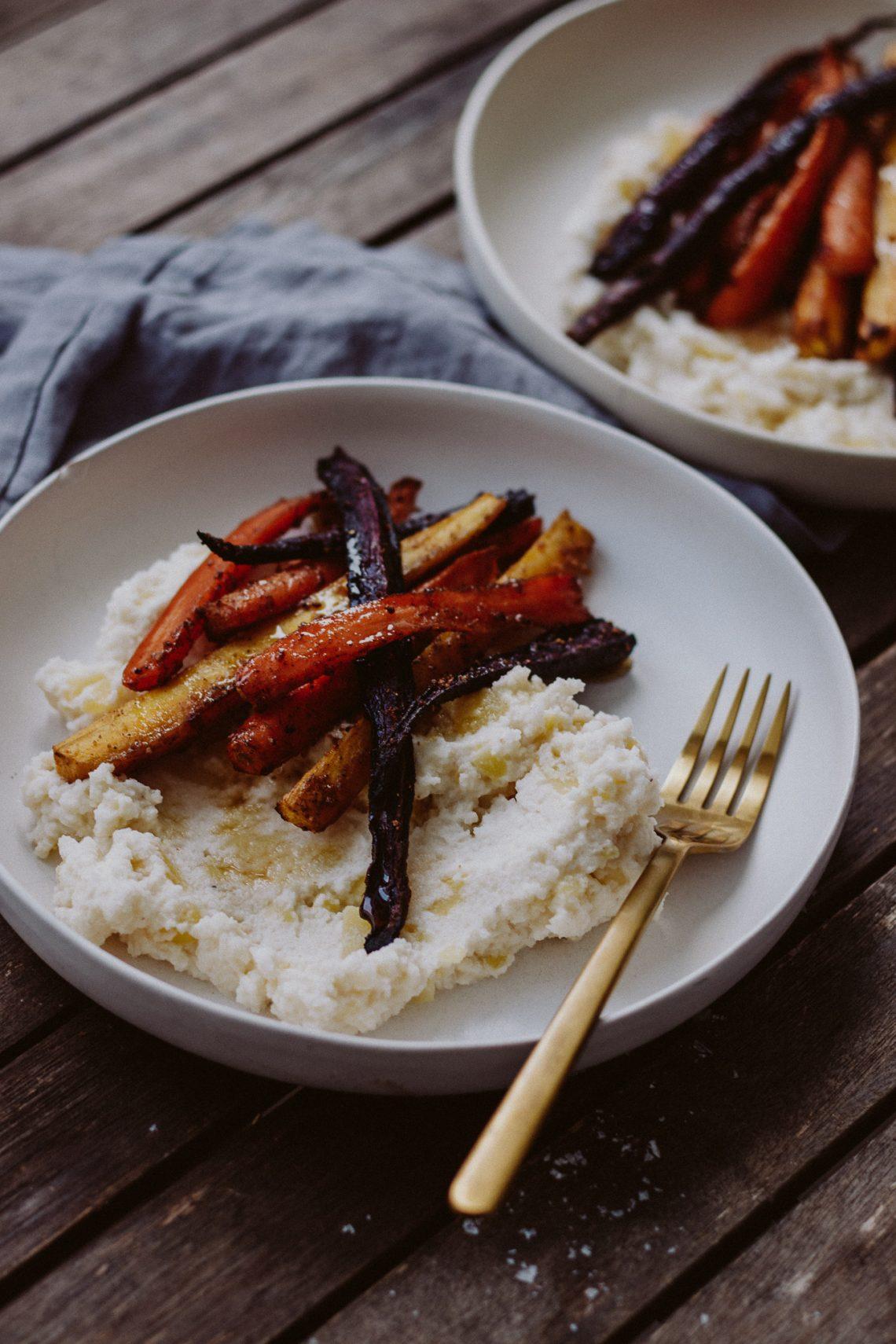 Rezept: Karfiolpüree mit Ofenkarotten