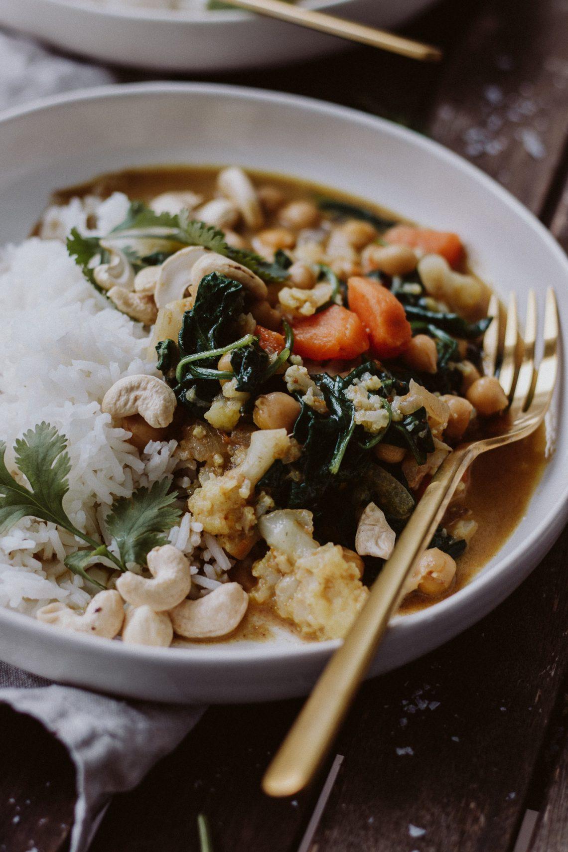 Rezept: veganes Spinat Karfiol Curry