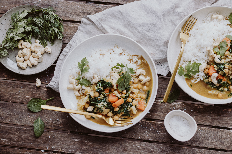 The Daily Dose Rezept Spinat Karfiol Curry vegan