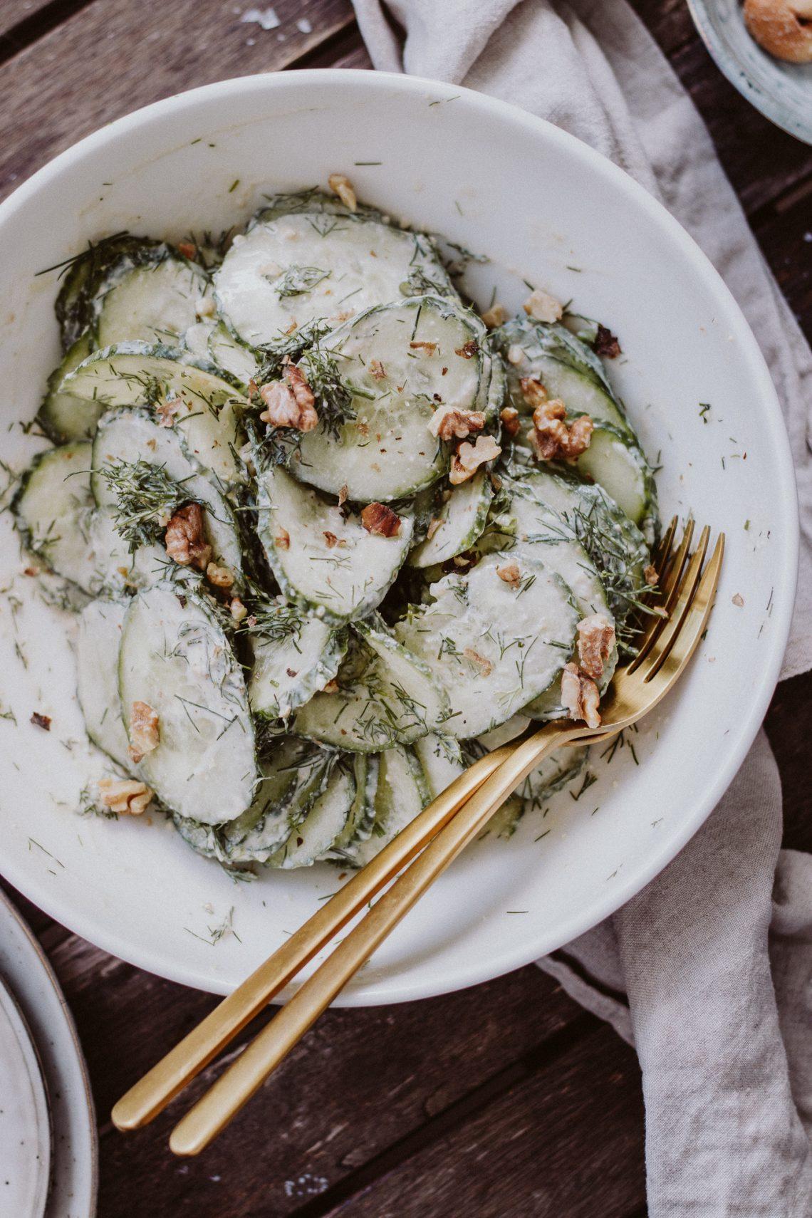 Rezept: veganer Gurken Rahm Salat