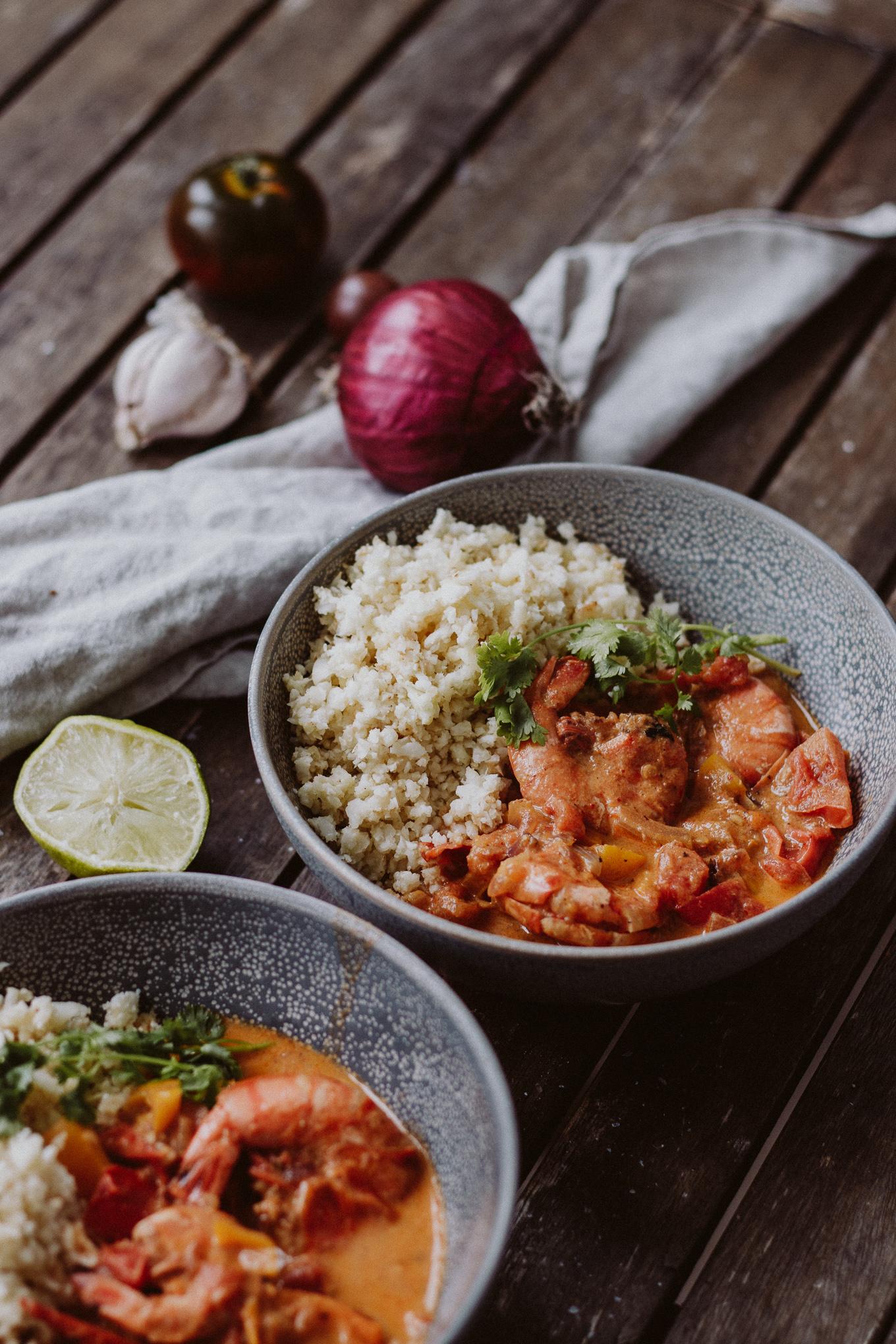 The Daily Dose Rezept rotes Garnelen Thai Curry Karfilreis lowcarb